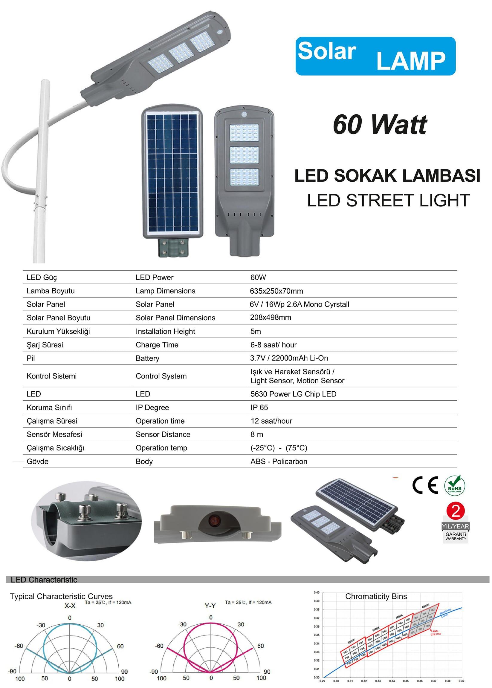 güneş enerjili sokak lambası