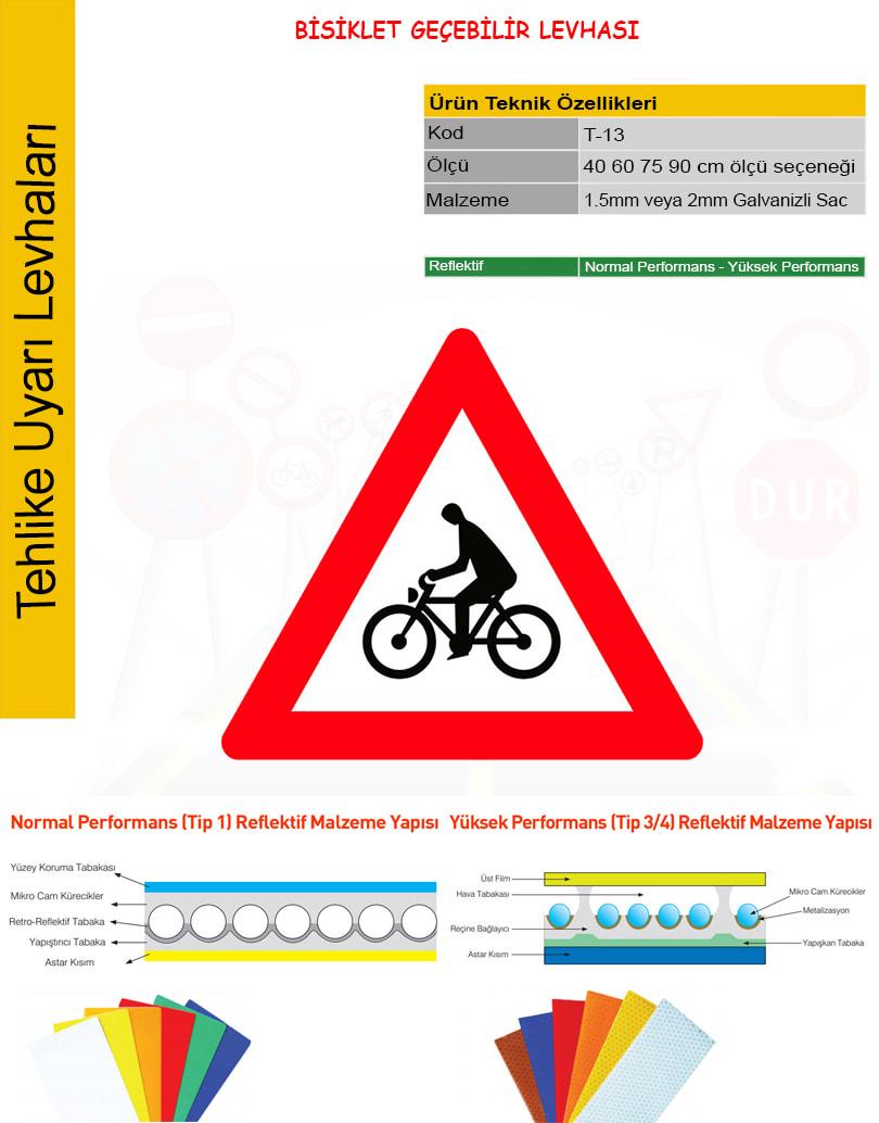 bisiklet geçebilir trafik levhası