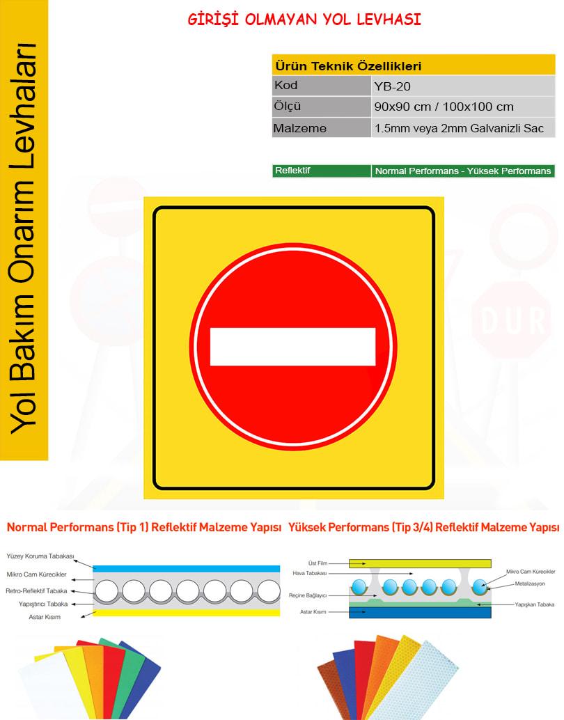 girişi olmayan yol işareti
