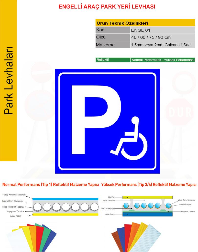 engelli araç park yeri levhası