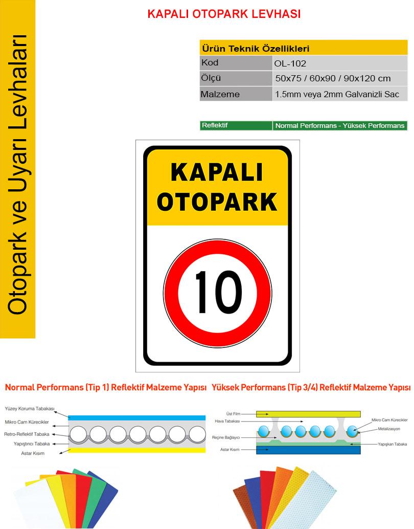 kapalı otopark tabelası