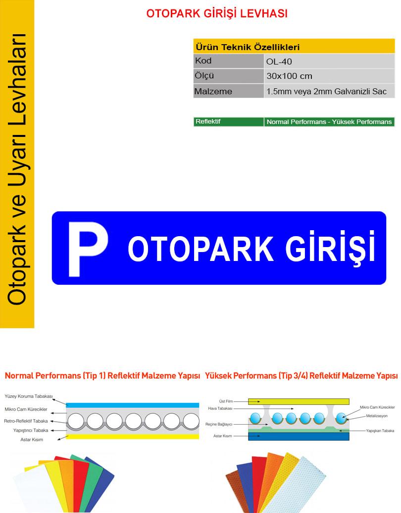 otopark girişi tabelası