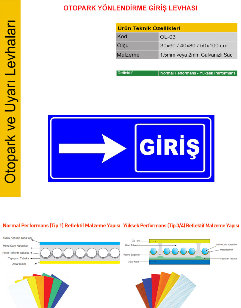 otopark giriş tabelası